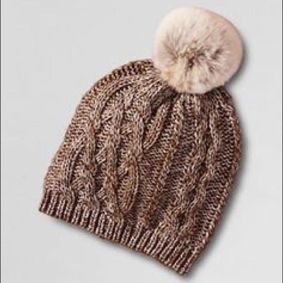 31ca4259370 Faux Fur Pom Aran Knit Hat